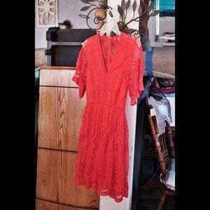Altar'd State Red Mini Lace Dress